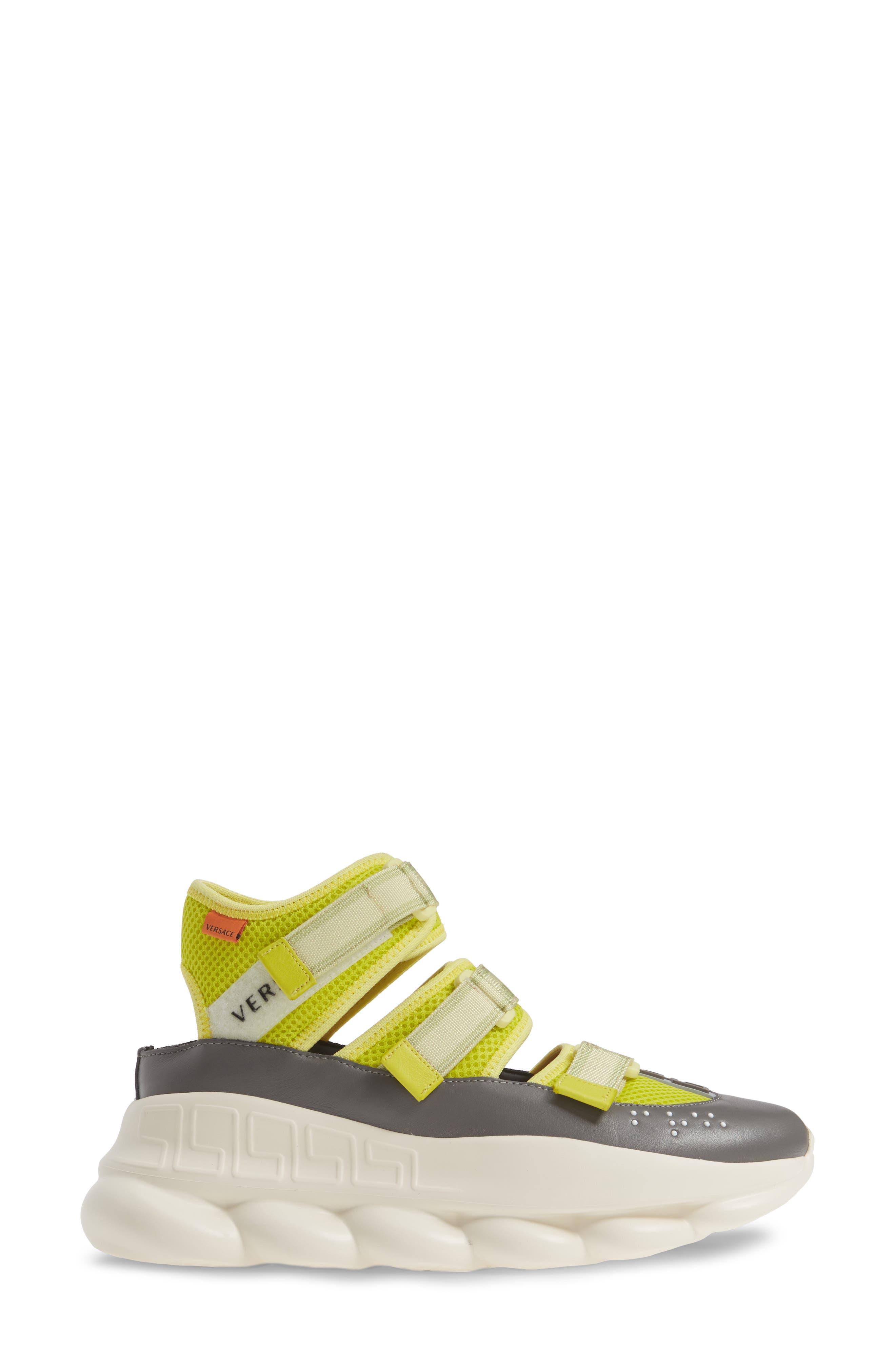 ,                             Chain Reaction Strappy Logo Sneaker,                             Alternate thumbnail 3, color,                             LIME