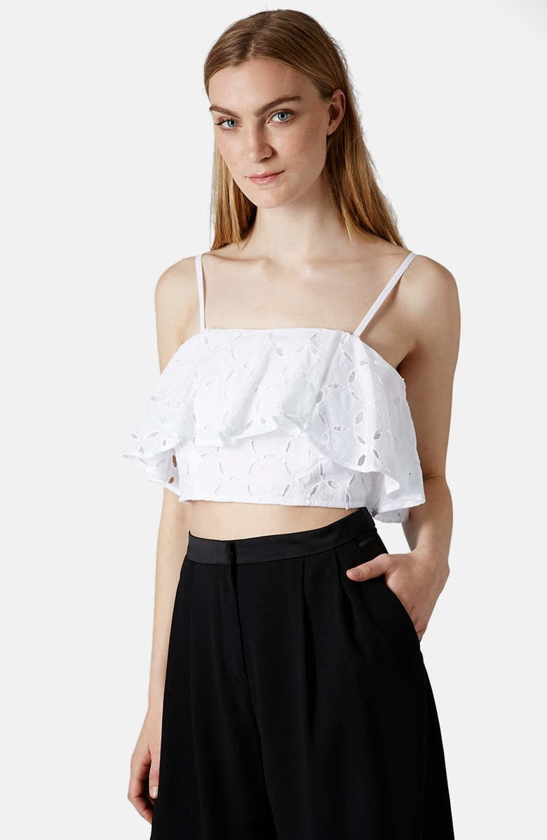 TOPSHOP Broderie Ruffle Bralette, Main, color, 100