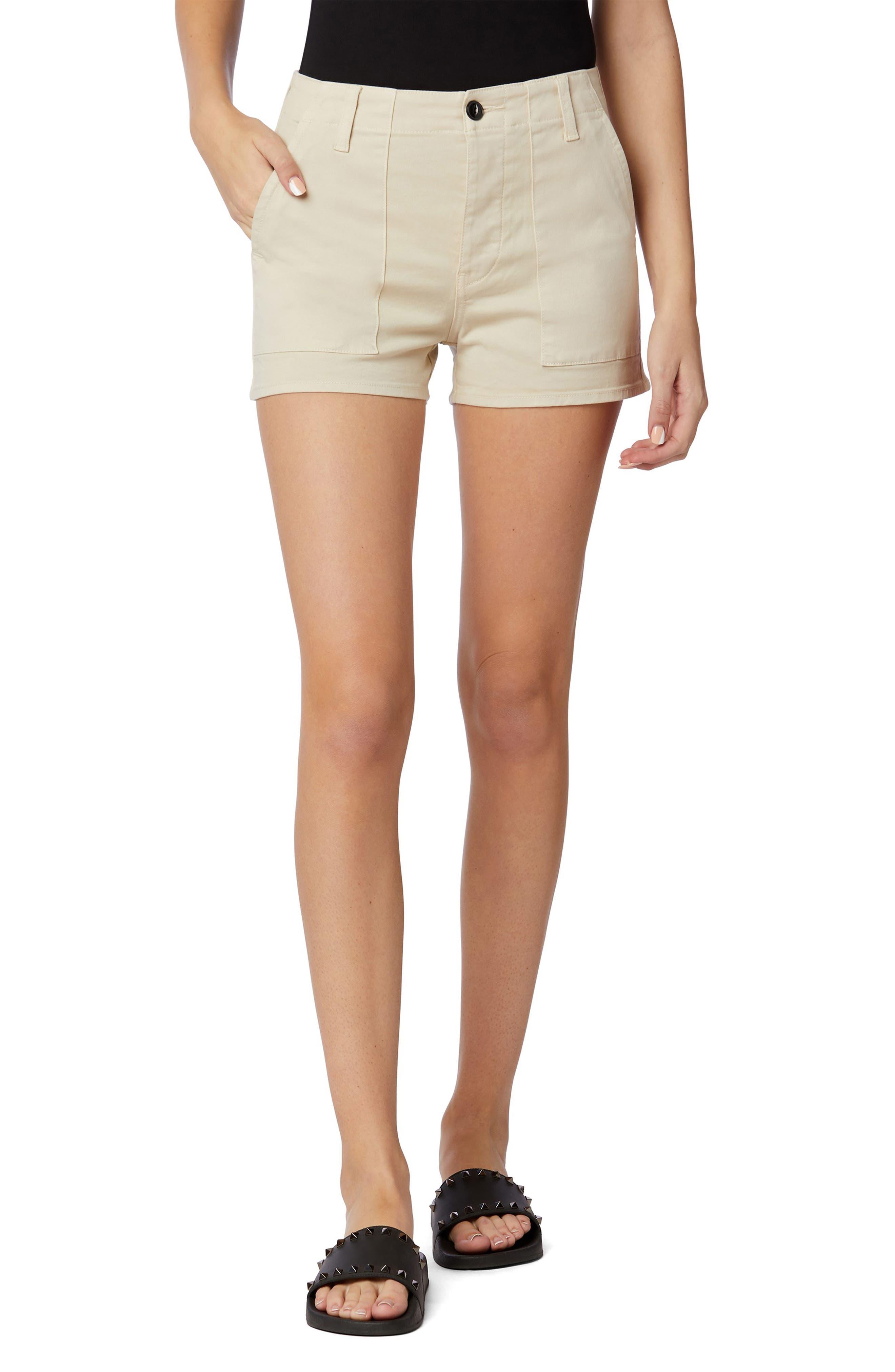 Military High Waist Cotton Blend Shorts