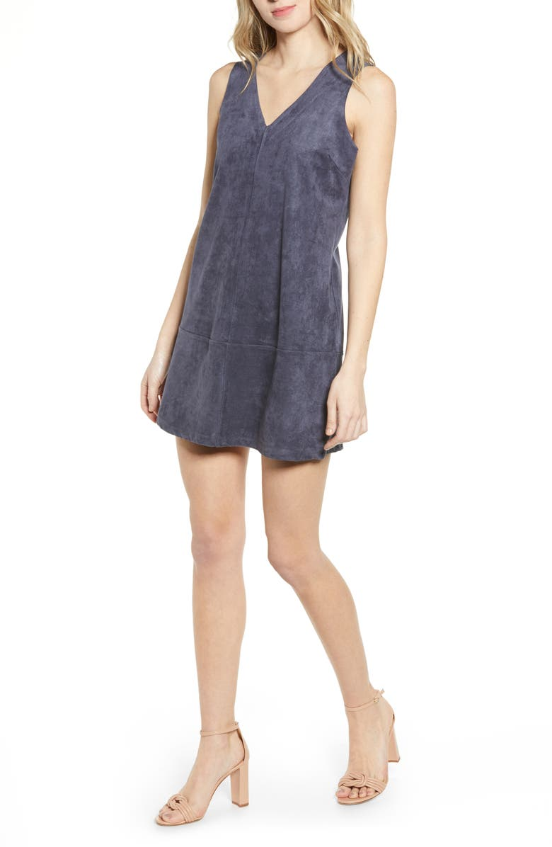 BISHOP + YOUNG V-Neck Faux Suede Shift Dress, Main, color, MIDNIGHT BLUE