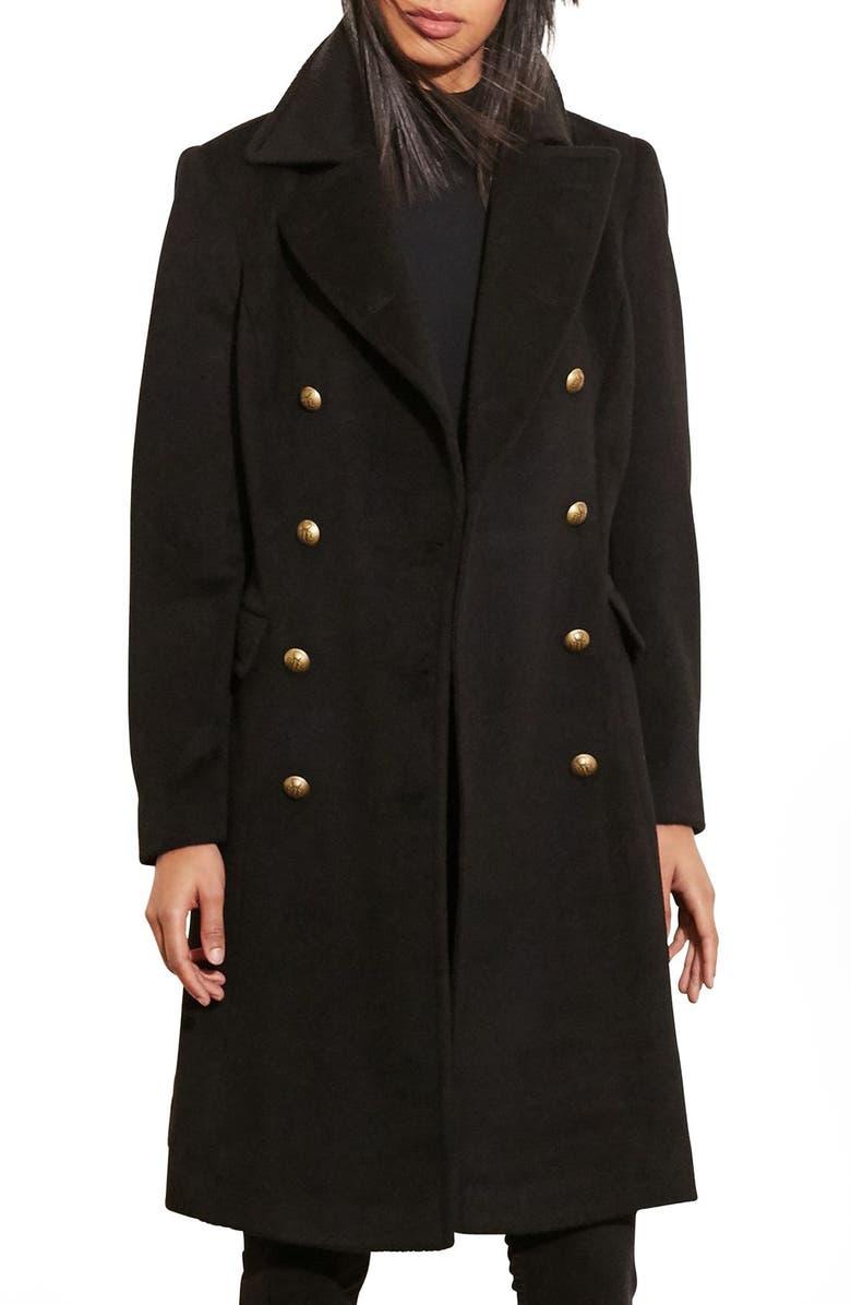 LAUREN RALPH LAUREN Skirted Wool Blend Military Coat, Main, color, 001