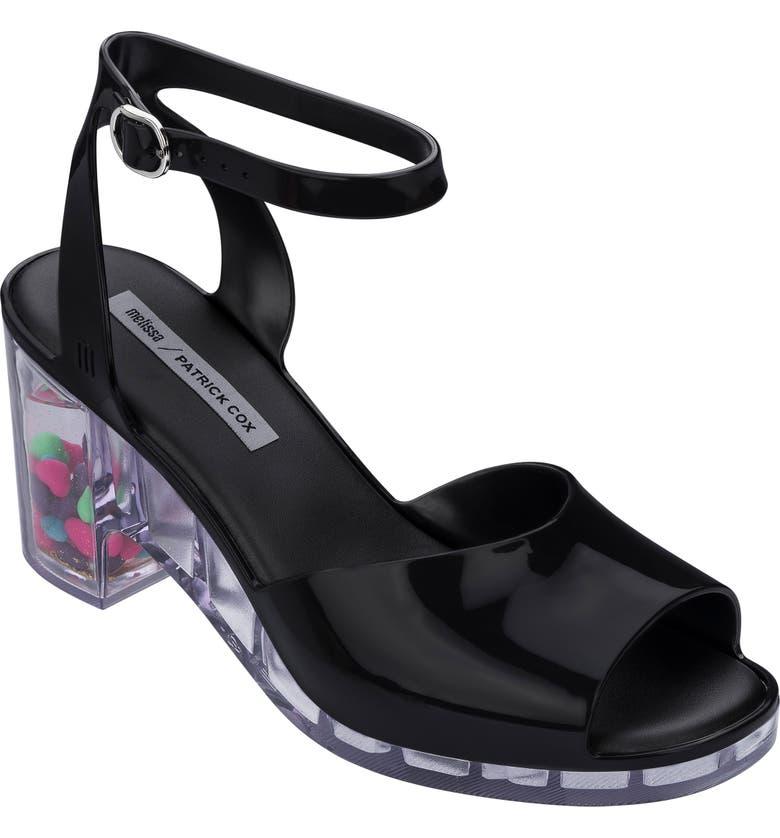 MELISSA x Patrick Cox Heart Heel Jelly Sandal, Main, color, BLACK