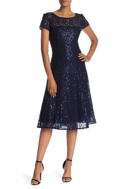 Image of SLNY Tea Length Sequin Lace Dress