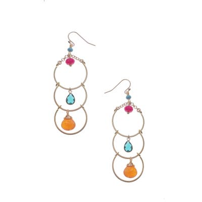 Nakamol Design 3-Stone Hoop Drop Earrings