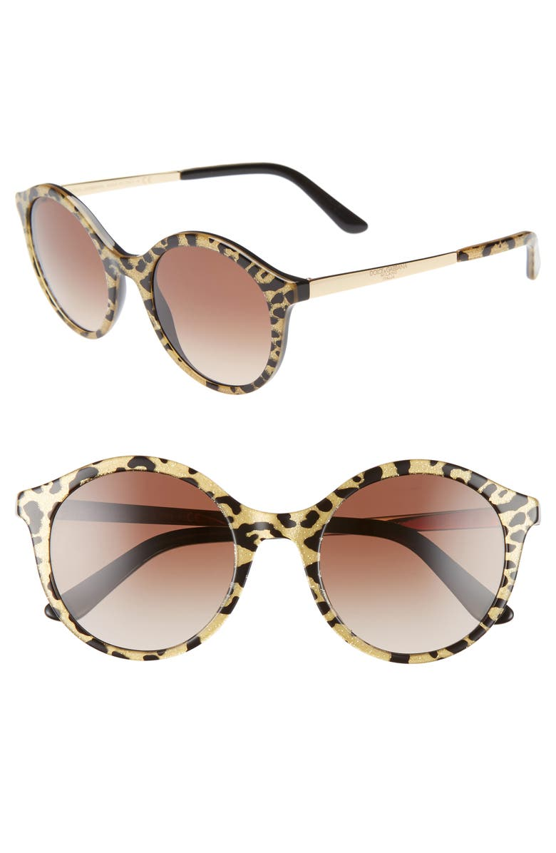 DOLCE&GABBANA 50mm Round Sunglasses, Main, color, LEOPARD GOLD GLITTER