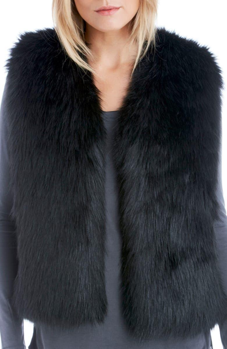 SOLE SOCIETY Faux Fur Vest, Main, color, 001