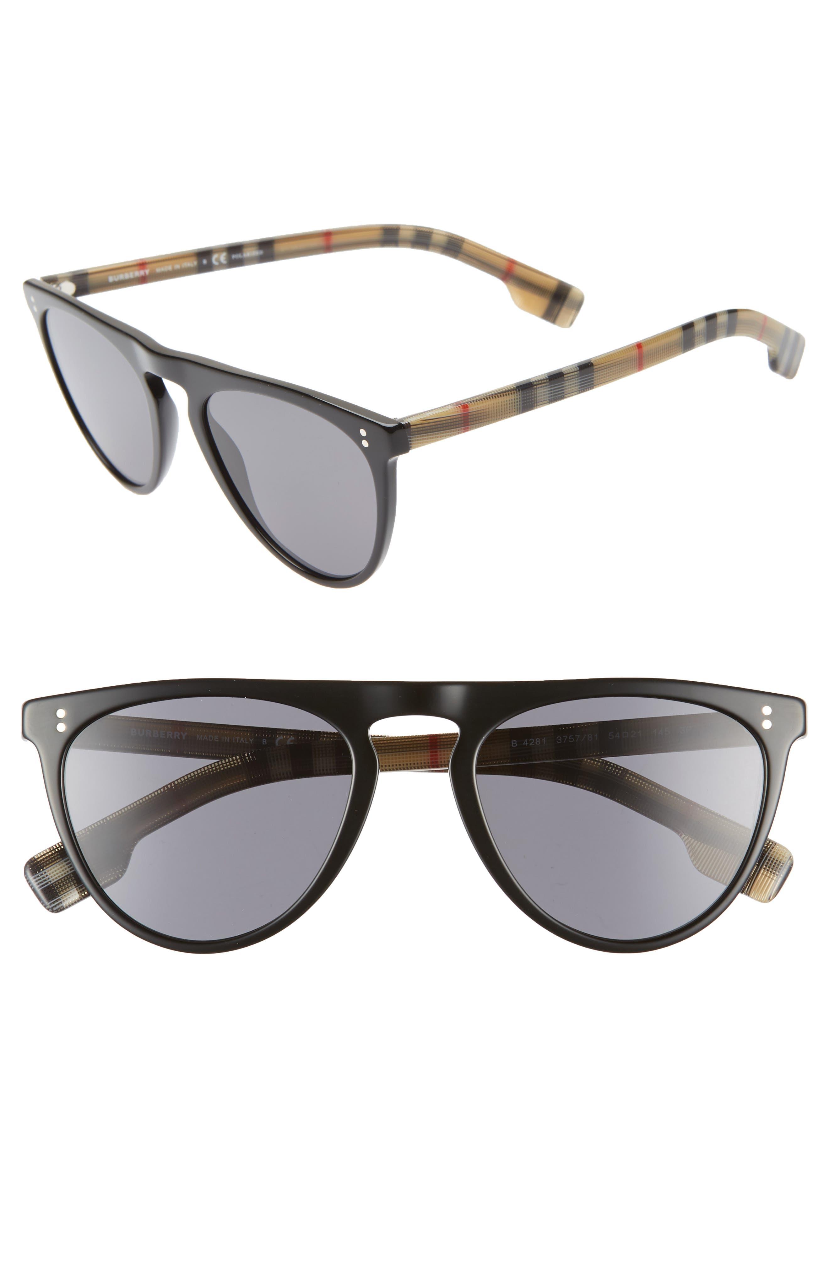 ,                             54mm Polarized Sunglasses,                             Main thumbnail 1, color,                             BLACK PATTERN SOLID