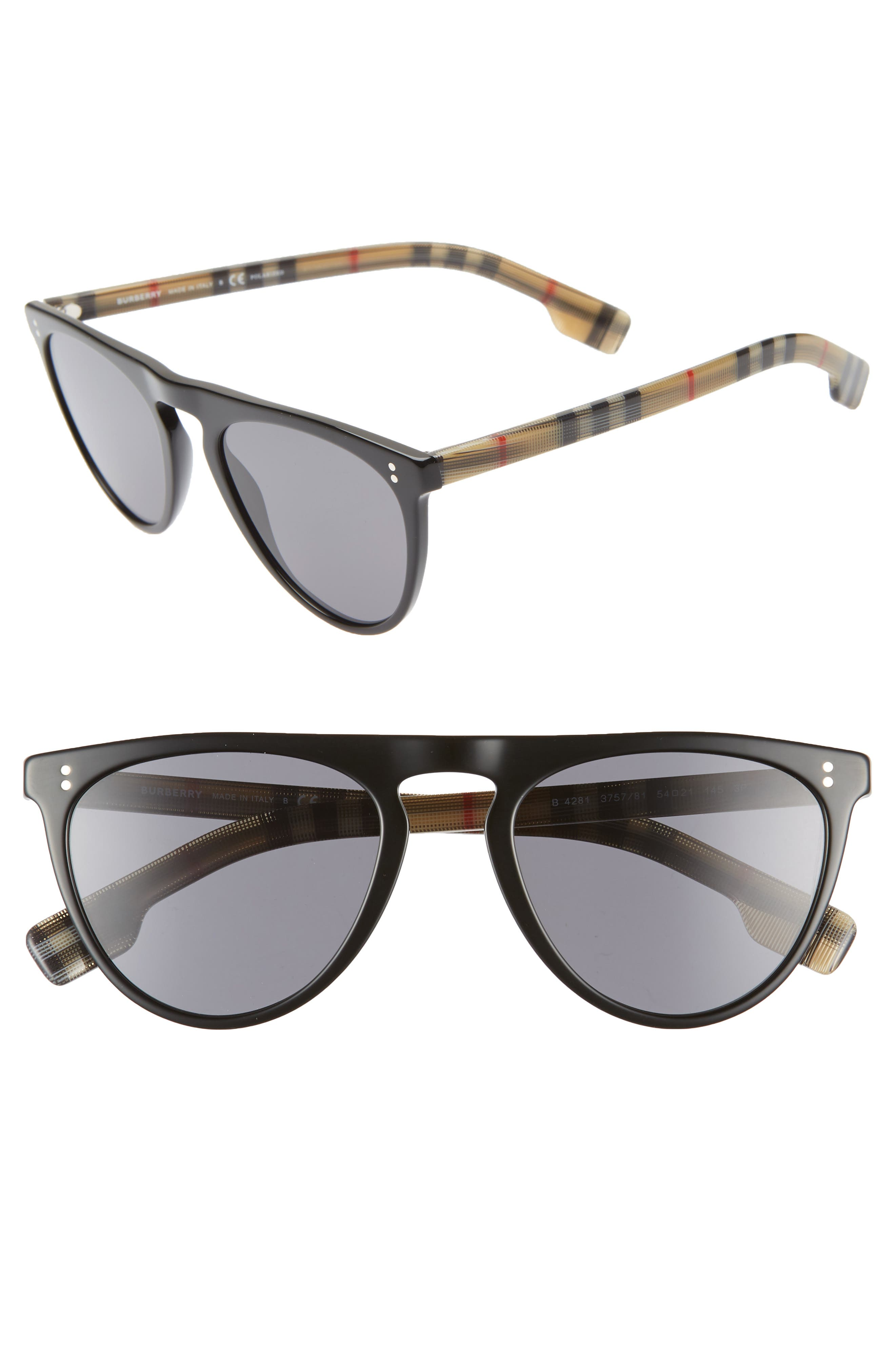 54mm Polarized Sunglasses, Main, color, BLACK PATTERN SOLID