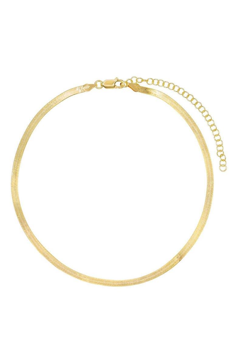 ADINA'S JEWELS Herringbone Chain Choker, Main, color, GOLD