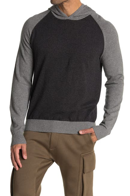 Image of AMICALE Cotton & Cashmere Blend Contrast Knit Hoodie