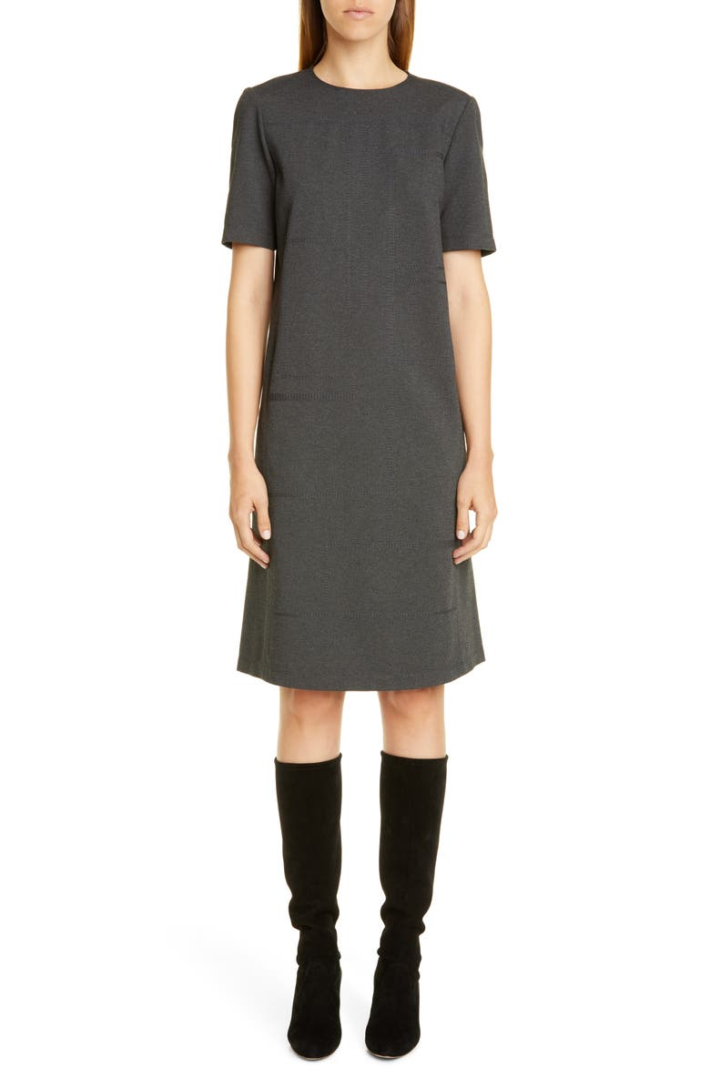 LAFAYETTE 148 NEW YORK Jacintha Tonal Stitch Shift Dress, Main, color, SMOKE