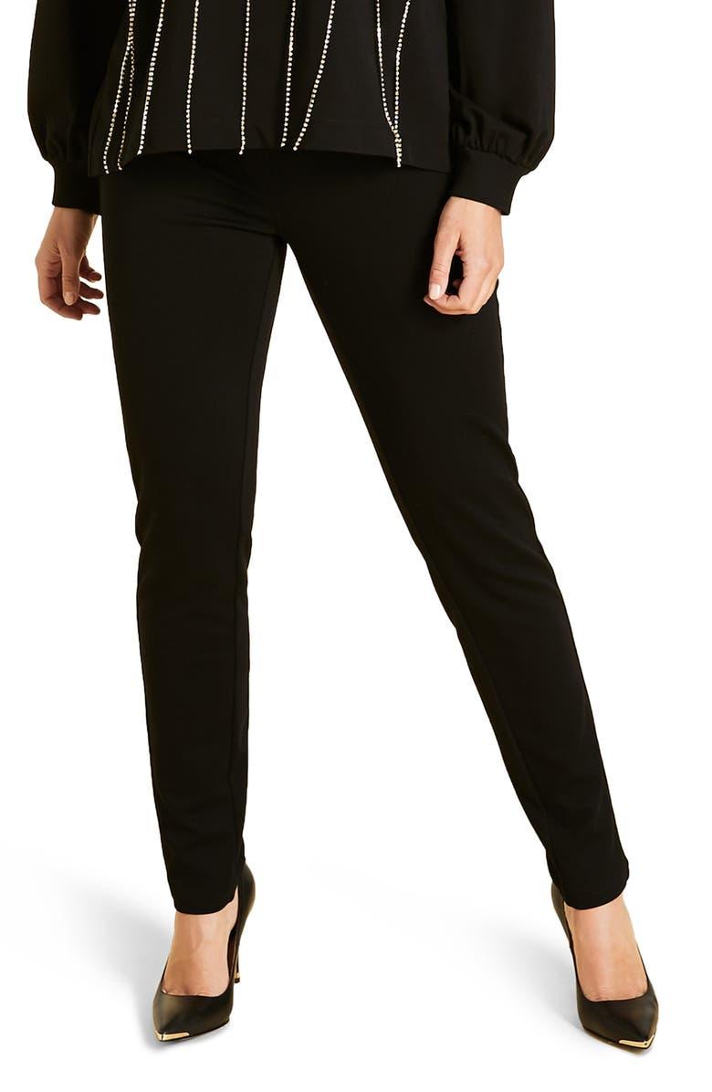 MARINA RINALDI Oblungo Stretch Jersey Slim Pants, Main, color, BLACK