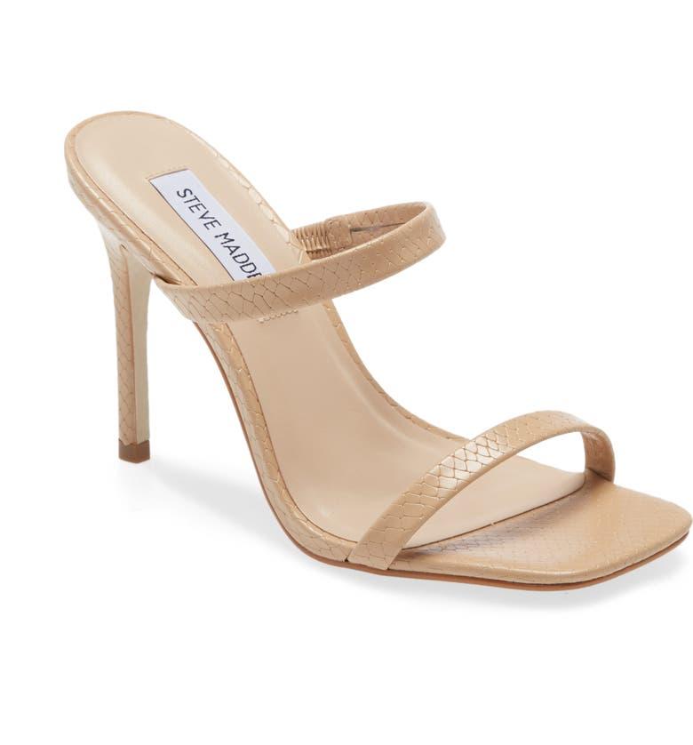 STEVE MADDEN Michele Slide Sandal, Main, color, BLUSH SNAKE PRINT