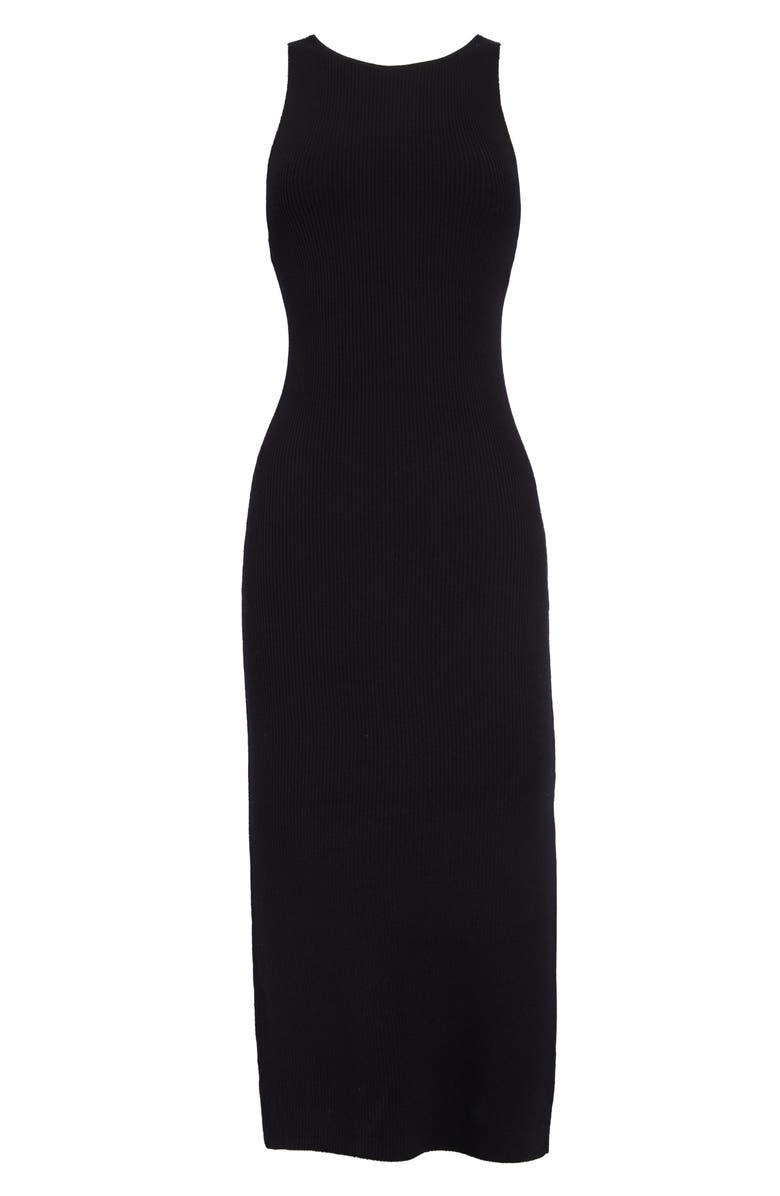 LEITH Rib Sleeveless Midi Dress, Alternate, color, BLACK