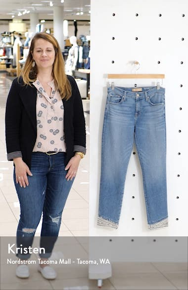 Imitation Pearl Embellished Crop Straight Leg Jeans, sales video thumbnail