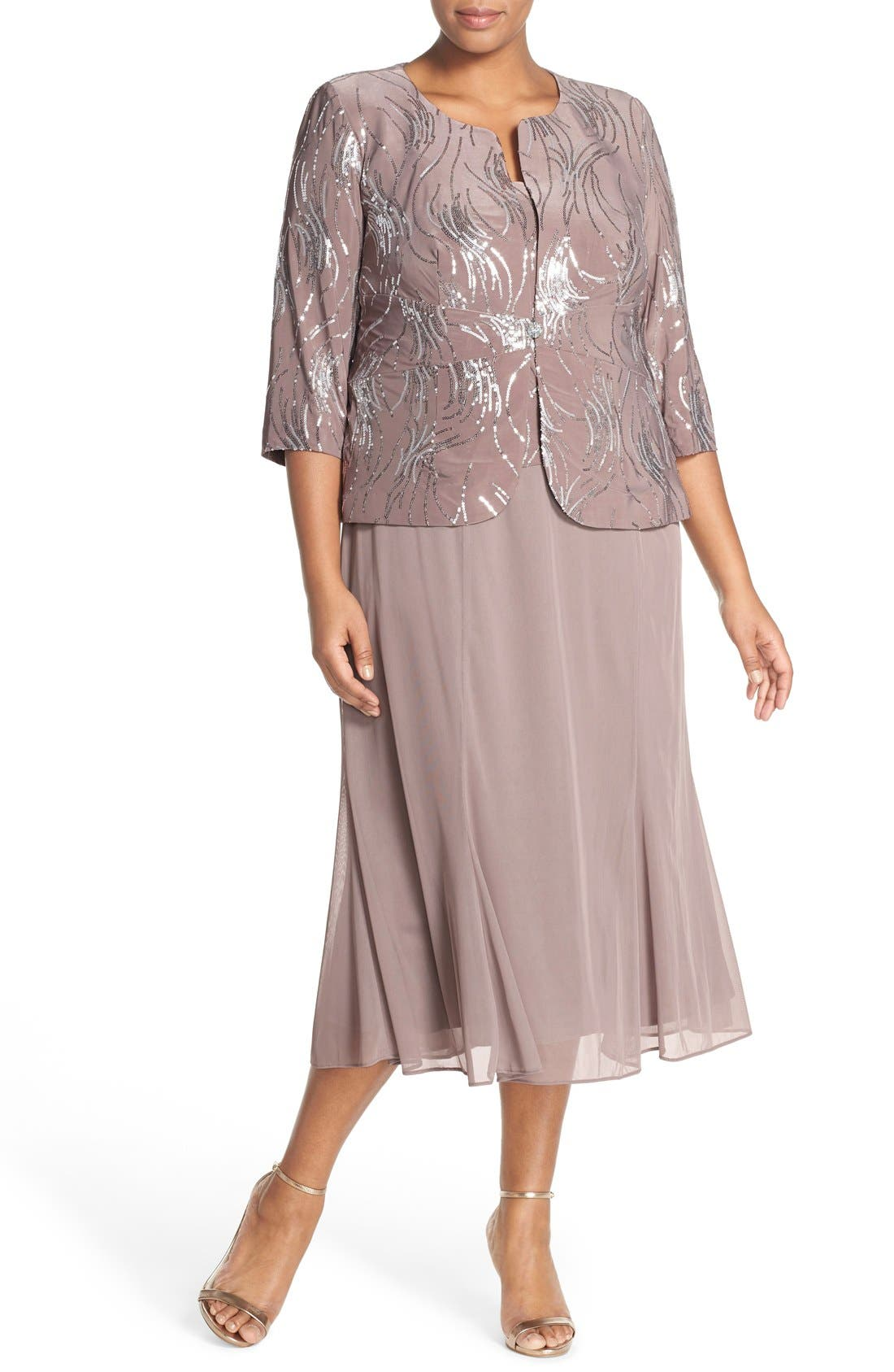 1940s Plus Size Dresses | Swing Dress, Tea Dress Plus Size Womens Alex Evenings Sequin Mock Two-Piece Dress With Jacket Size 14W - Metallic $209.00 AT vintagedancer.com