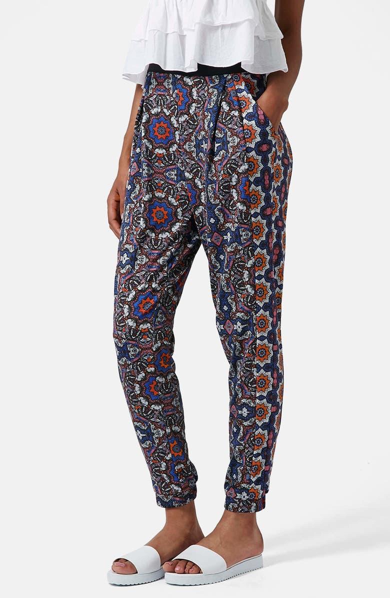 TOPSHOP Kaleidoscope Print Tapered Pants, Main, color, BLUE MULTI