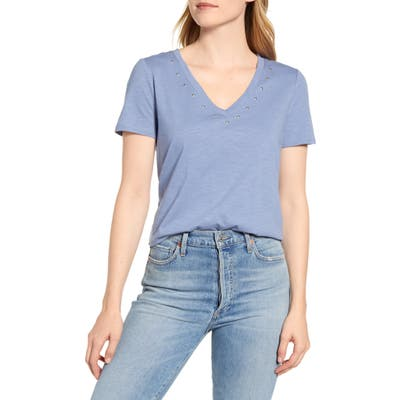 Vince Camuto Studded V-Neck Cotton Blend T-Shirt, Blue