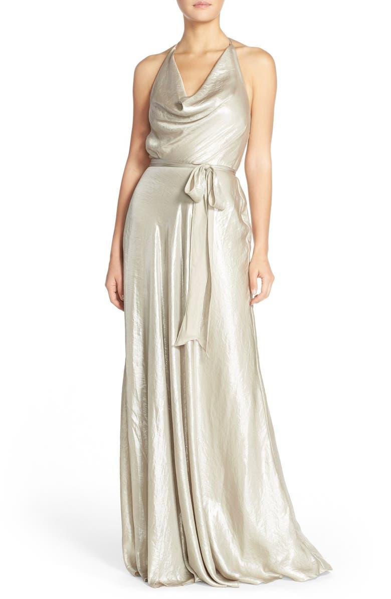 NOUVELLE AMSALE 'Liane' Liquid Chiffon Draped Halter Gown, Main, color, 711
