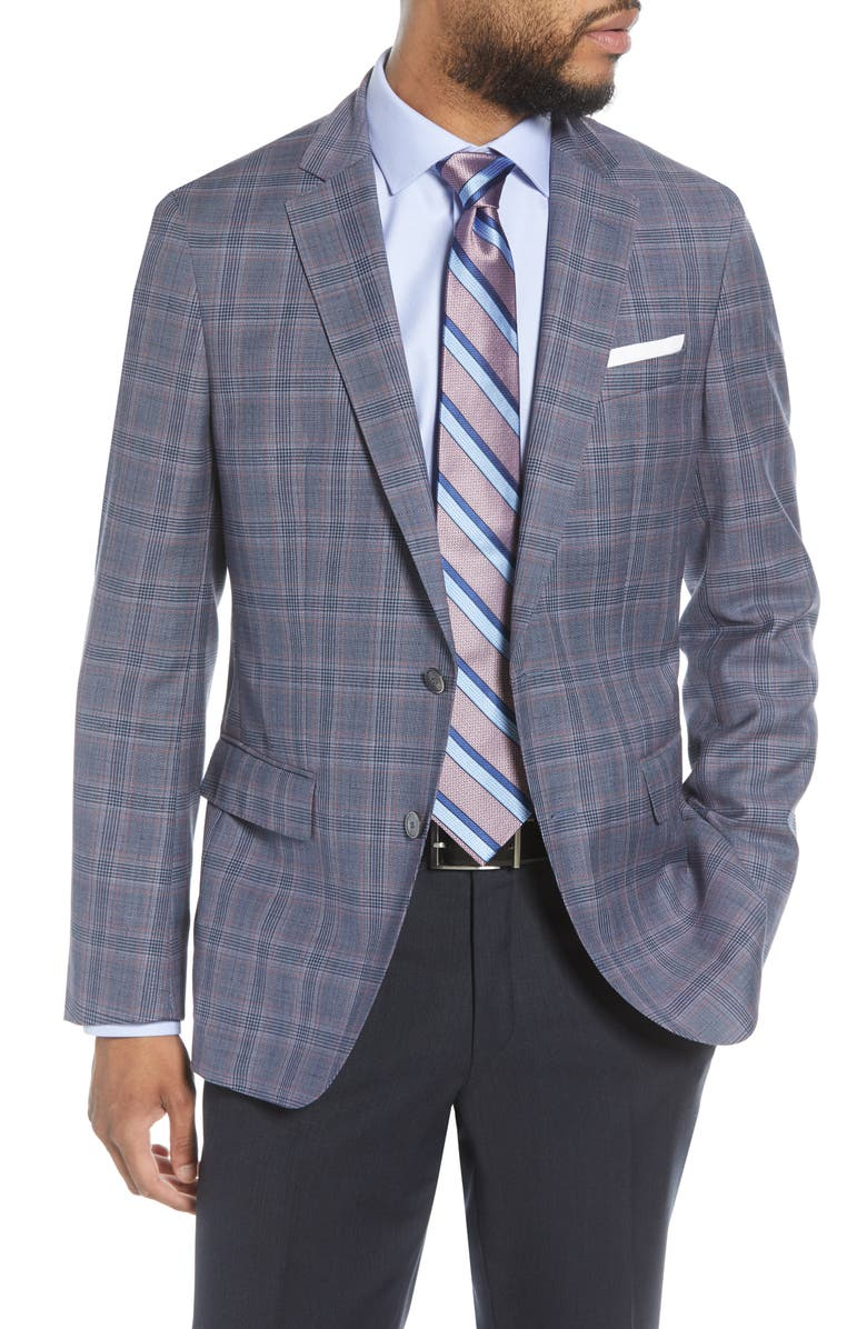BOSS Hartlay Trim Fit Plaid Wool Sport Coat, Main, color, DARK BLUE