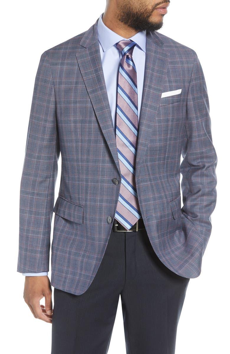 BOSS Hartlay Trim Fit Plaid Wool Sport Coat, Main, color, 402