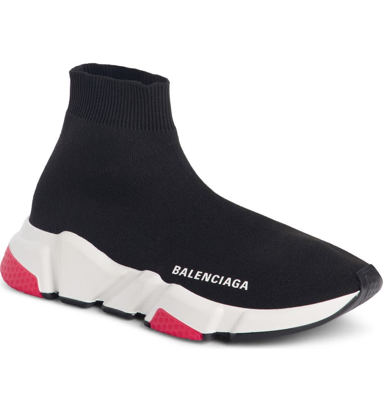 BALENCIAGA Mid Speed Trainer Sock Sneaker, Main, color, BLACK