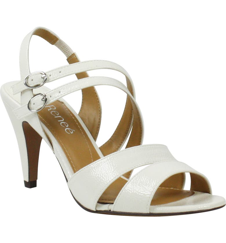J. RENEÉ Uliana Sandal, Main, color, WHITE FAUX PATENT LEATHER