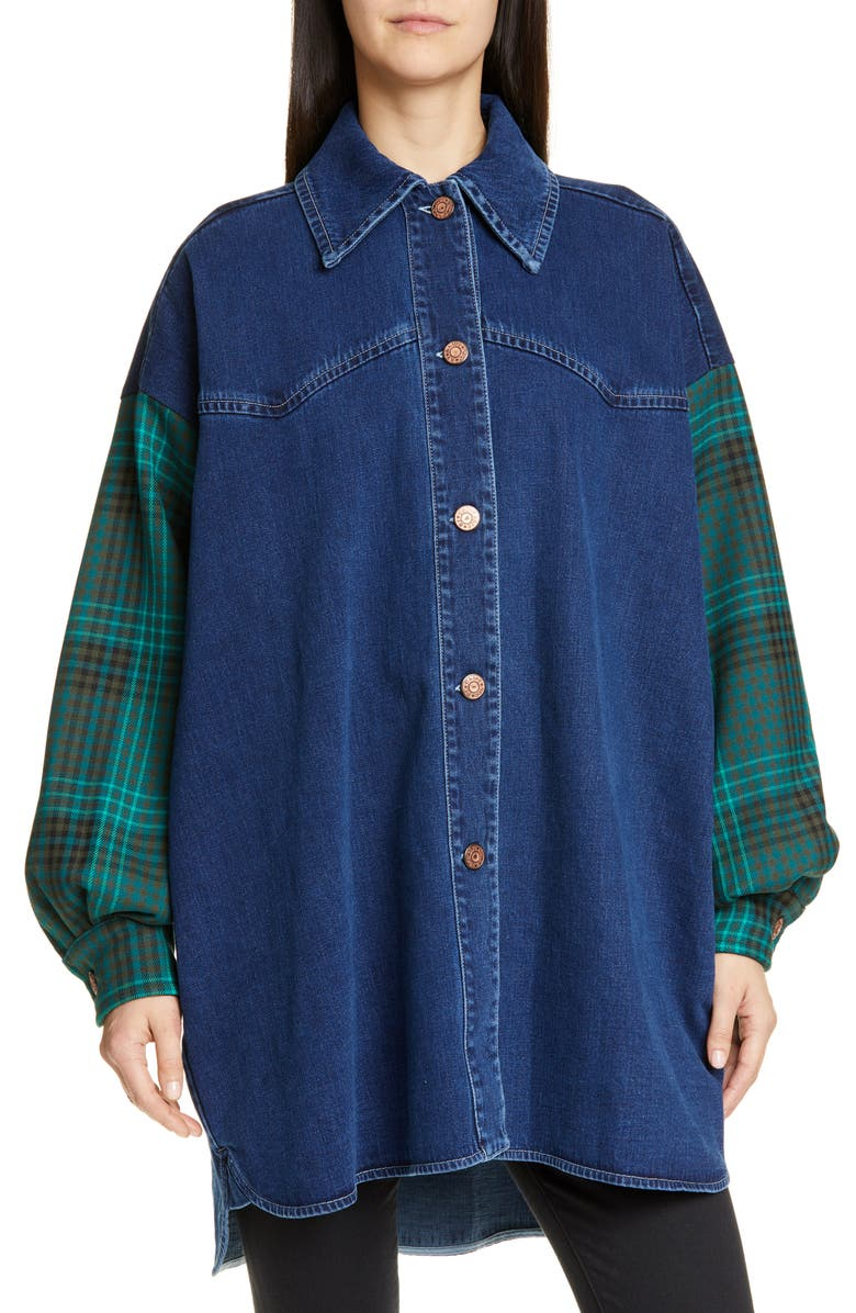 SEE BY CHLOÉ Flannel Sleeve Denim Shirt Jacket, Main, color, 401