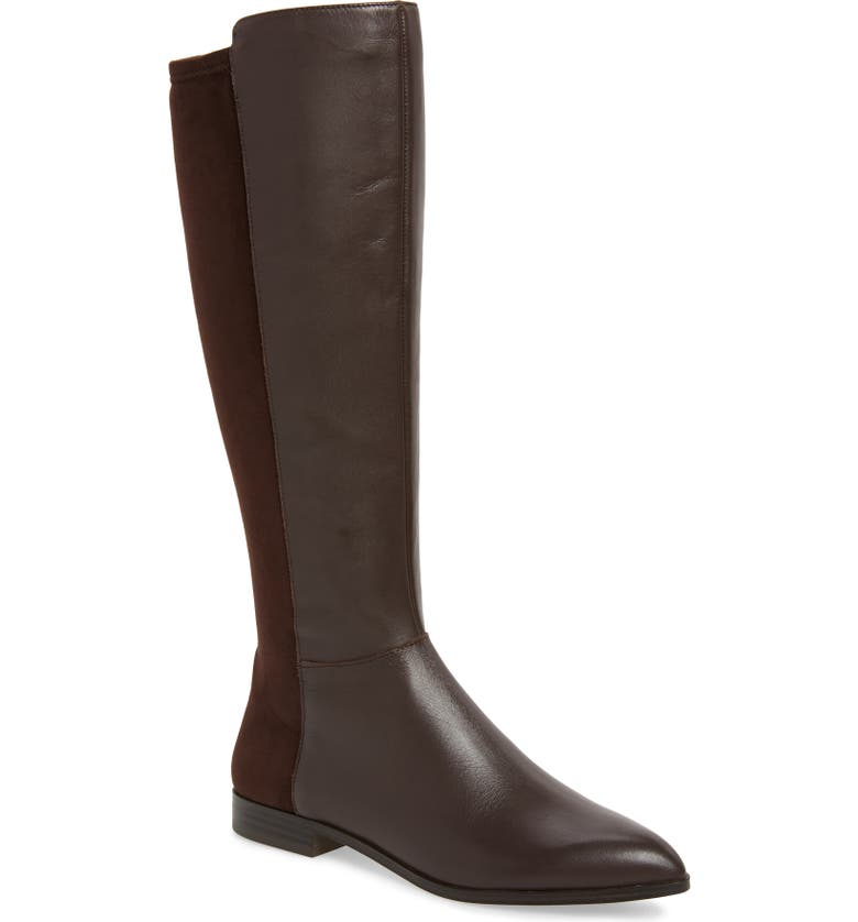 NINE WEST Owenford Knee High Riding Boot, Main, color, DARK BROWN LEATHER