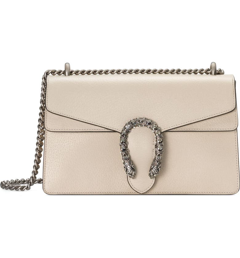 GUCCI Small Dionysus Leather Shoulder Bag, Main, color, IVORY/ BLACK DIAMOND