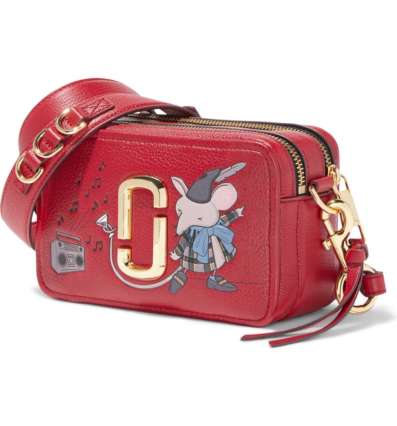 THE MARC JACOBS The Softshot 21 Leather Crossbody Bag, Main, color, CRANBERRY
