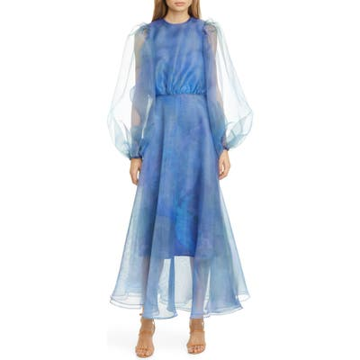 Beaufille Watercolor Print Long Sleeve Organza Gown, Blue