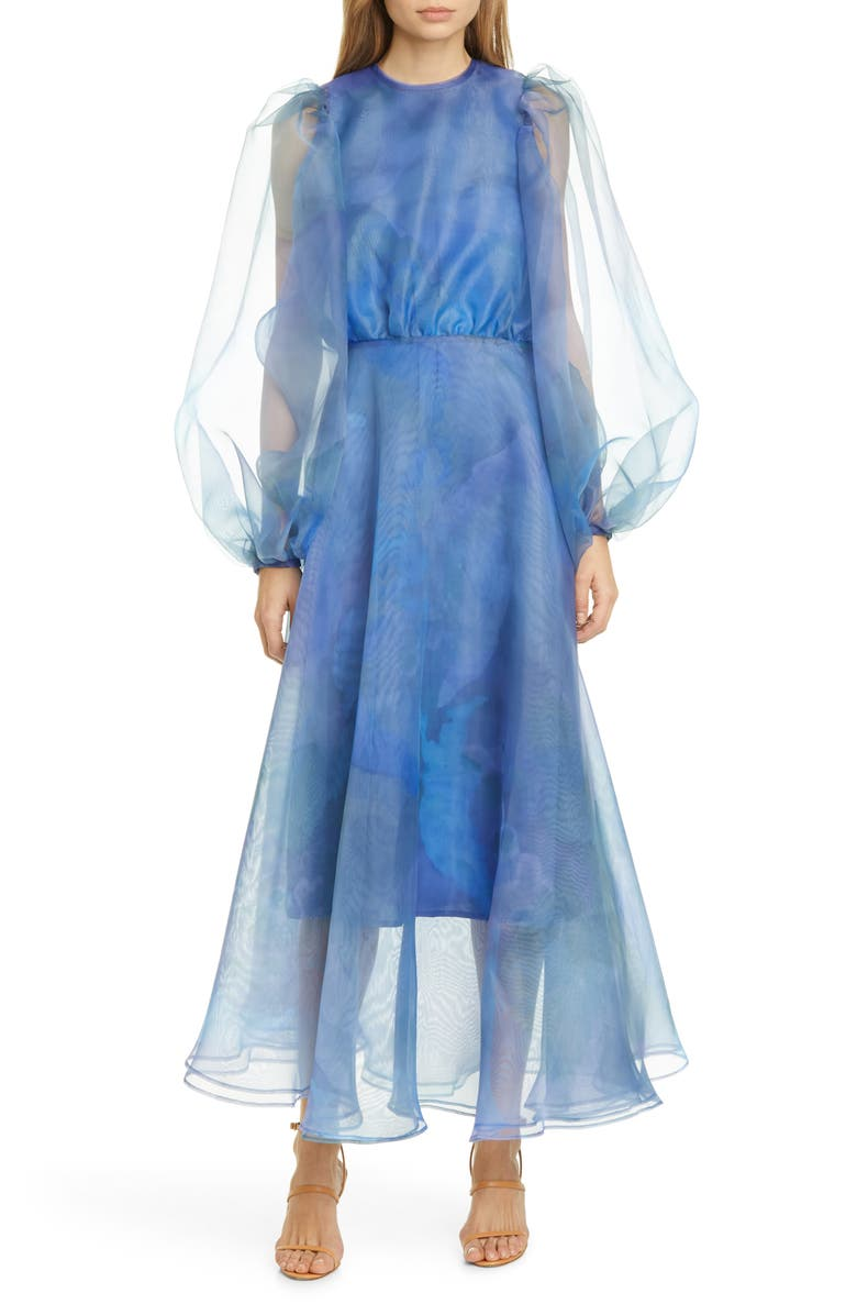 BEAUFILLE Watercolor Print Long Sleeve Organza Gown, Main, color, 424