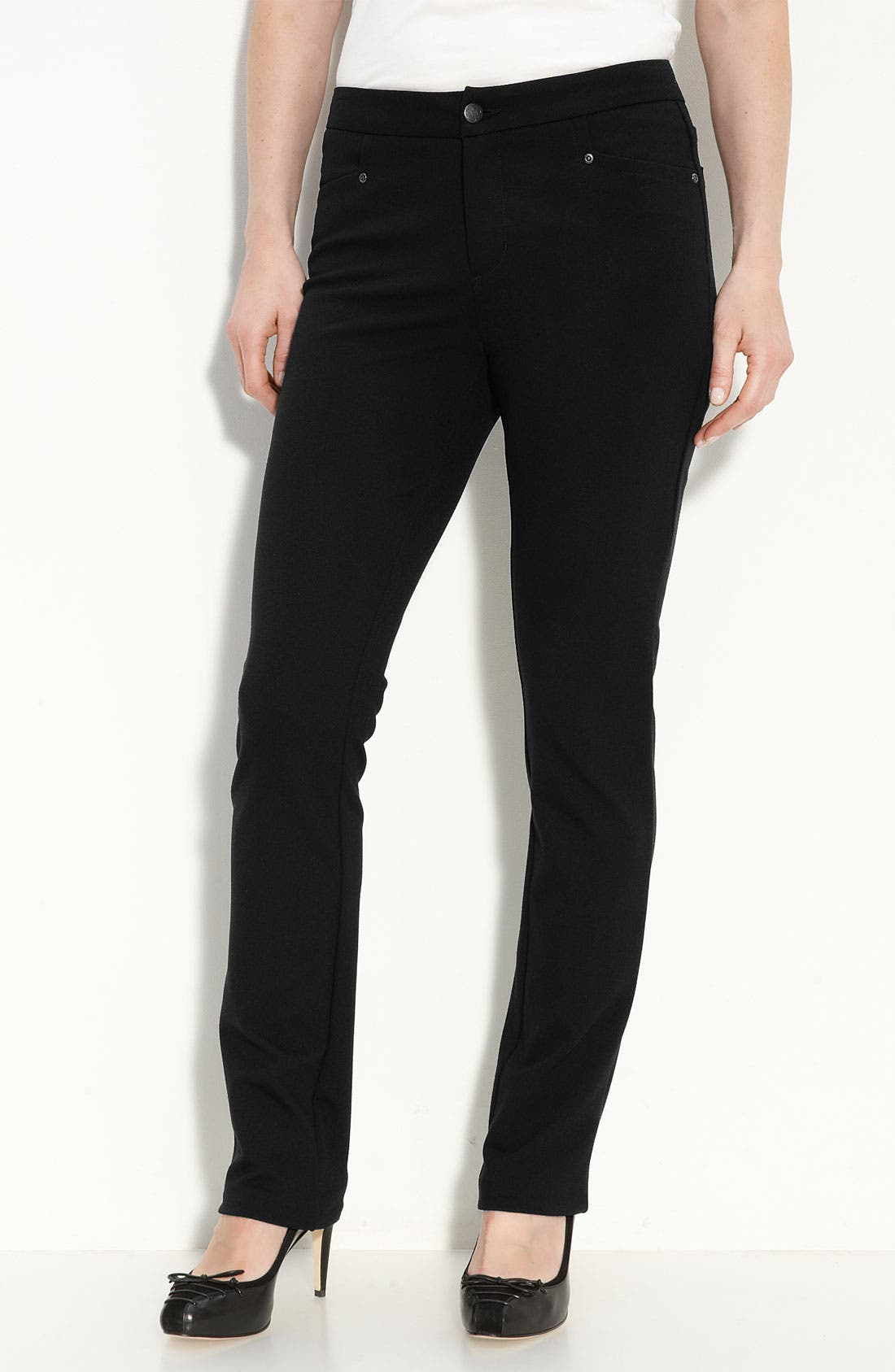 'Samantha' Stretch Ponte Knit Pants, Main, color, 001