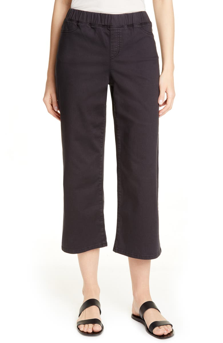 EILEEN FISHER Wide Leg Crop Jeans, Main, color, WASHED BLACK