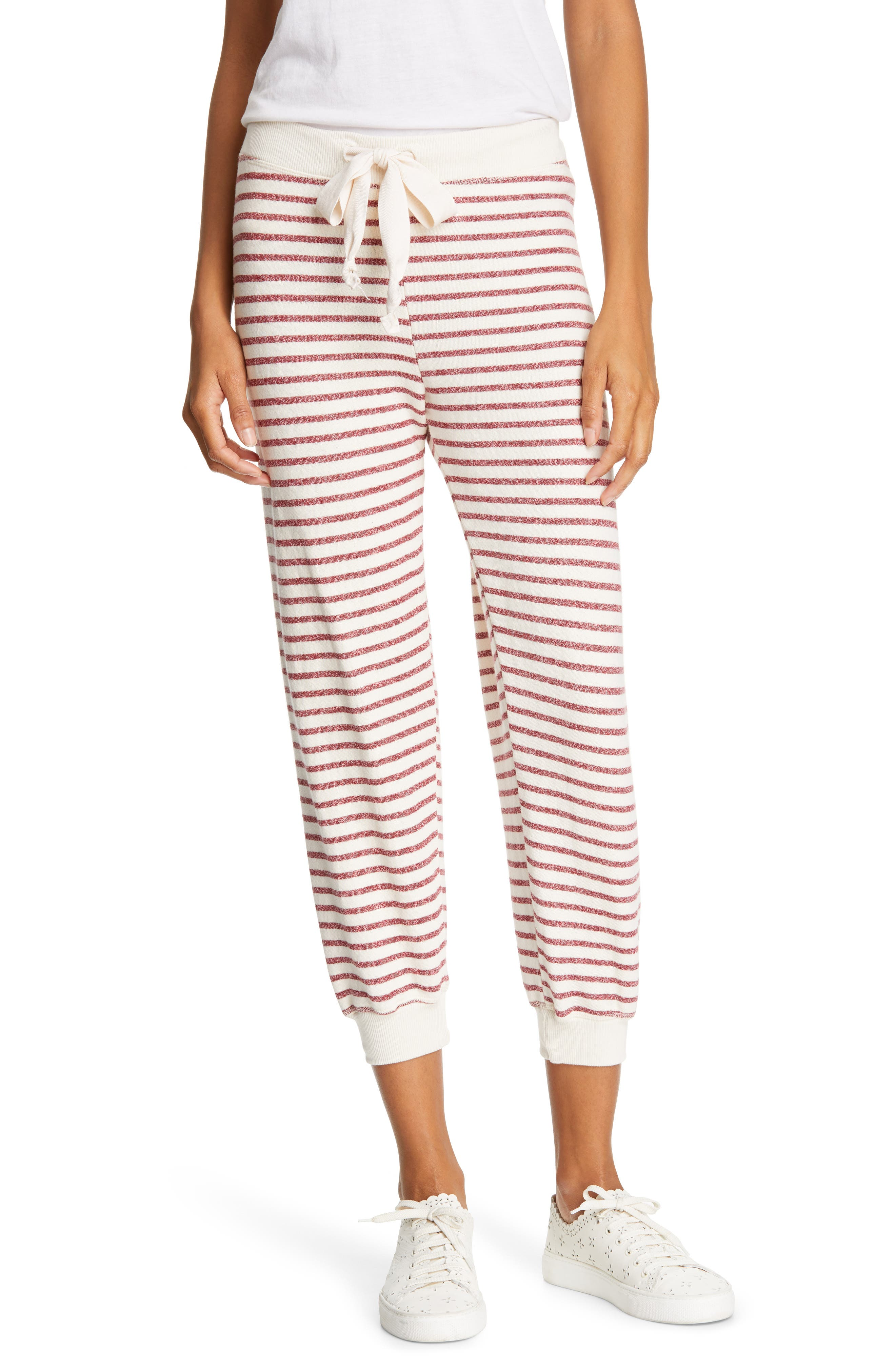 The Great. Tie Waist Stripe Sweatpants, Red