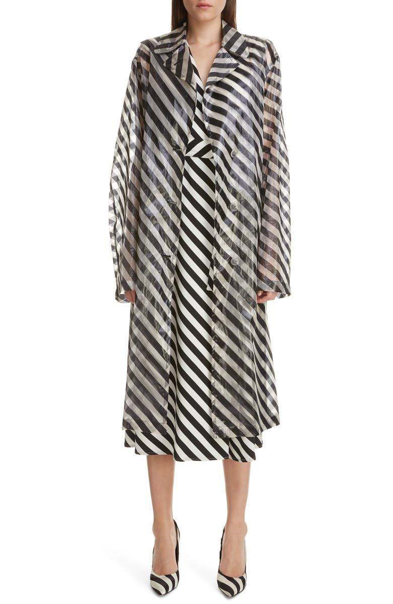 DRIES VAN NOTEN Rubor Transparent Stripe Trench Coat, Main, color, 001