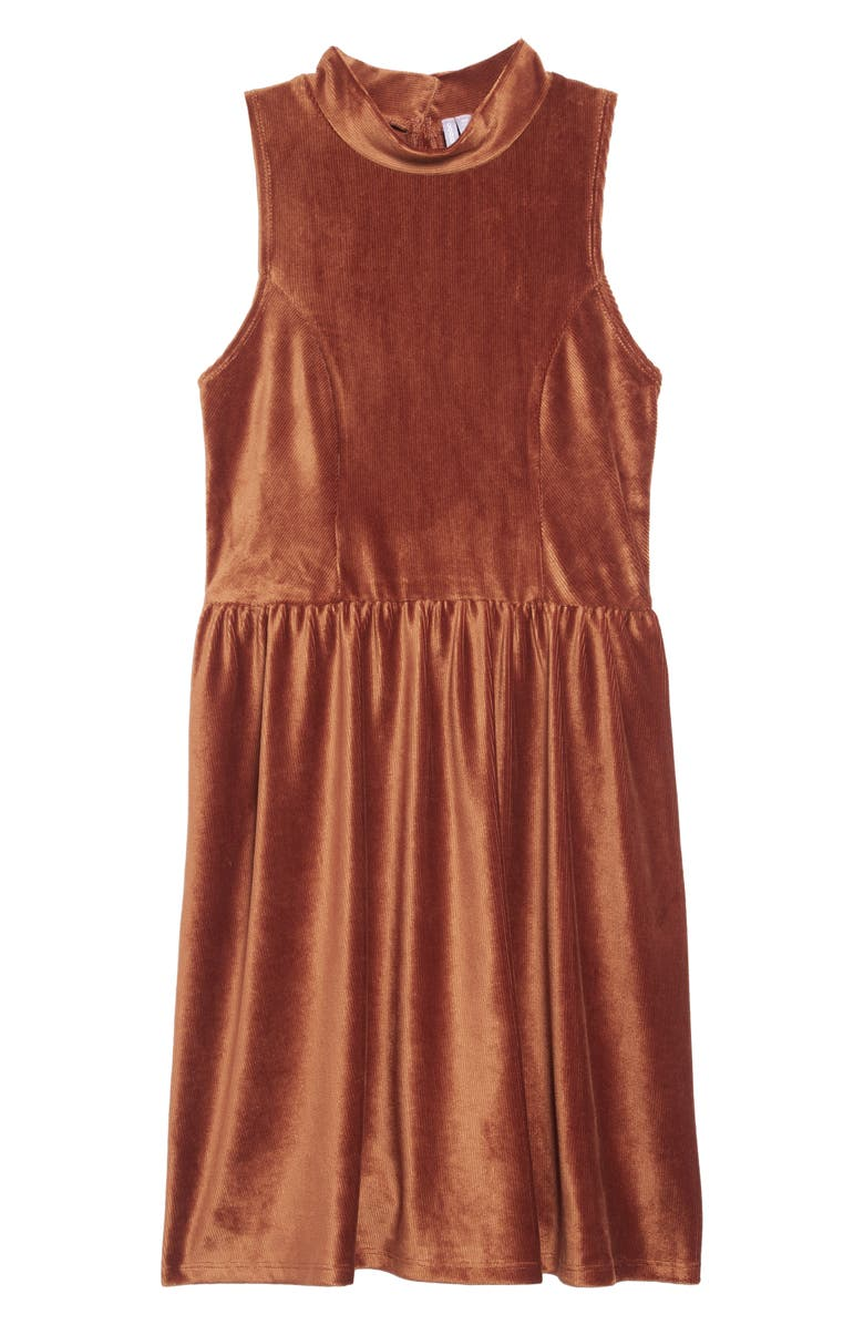 GOOD LUCK GIRL Mock Neck Velvet Dress, Main, color, RUST
