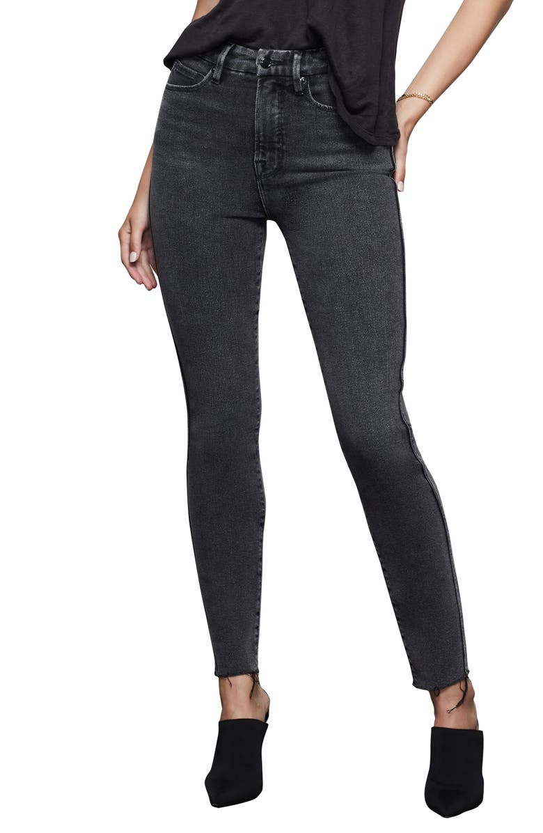 GOOD AMERICAN Good Curve High Waist Raw Edge Ankle Skinny Jeans, Main, color, BLACK074