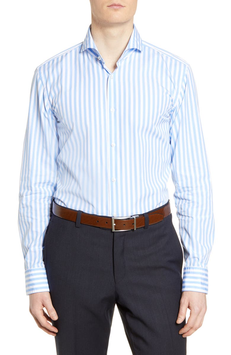 BOSS Slim Fit Stripe Dress Shirt, Main, color, LIGHT BLUE