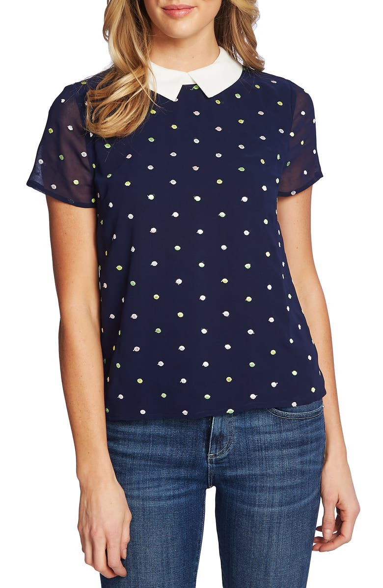 CeCe Dot Embroidery Collared Blouse