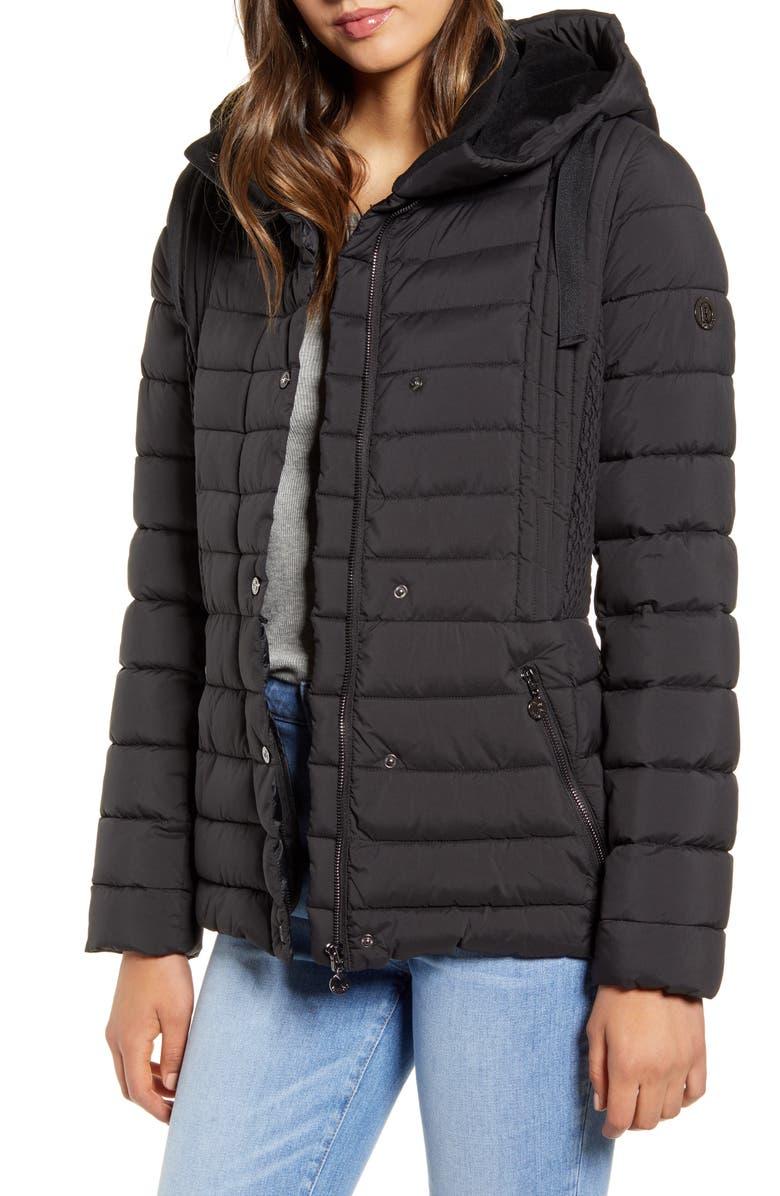 BERNARDO Packable Water Resistant Puffer Jacket, Main, color, BLACK