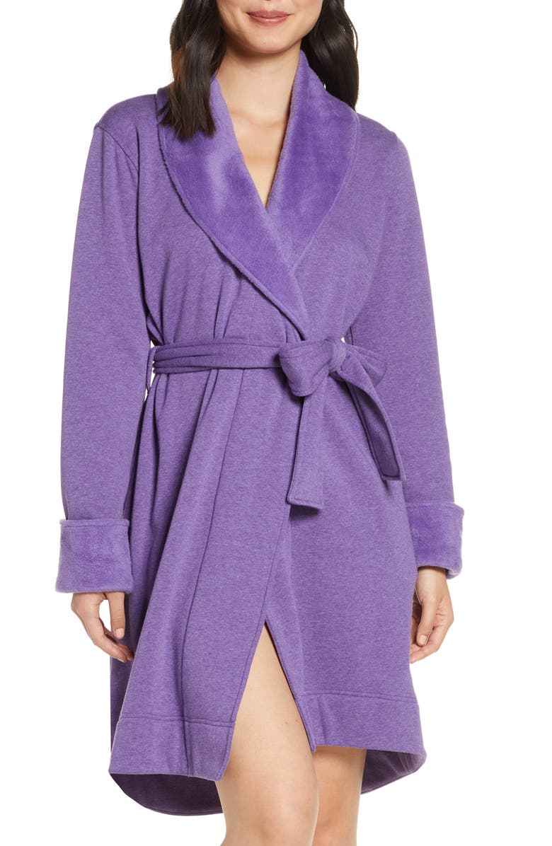 UGG<SUP>®</SUP> Blanche II Short Robe, Main, color, VIOLET BLOOM HEATHER