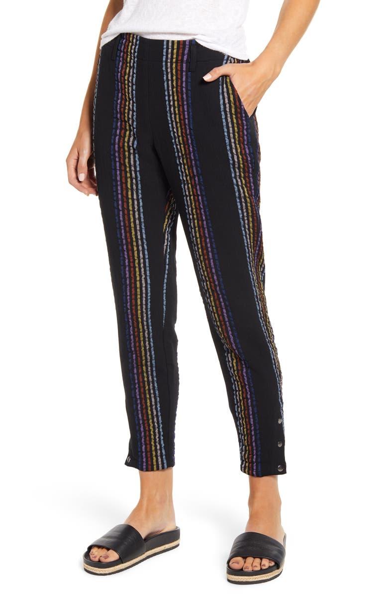 THE ODELLS Stripe Snap Cuff Slim Cotton Blend Pants, Main, color, CAPETOWN