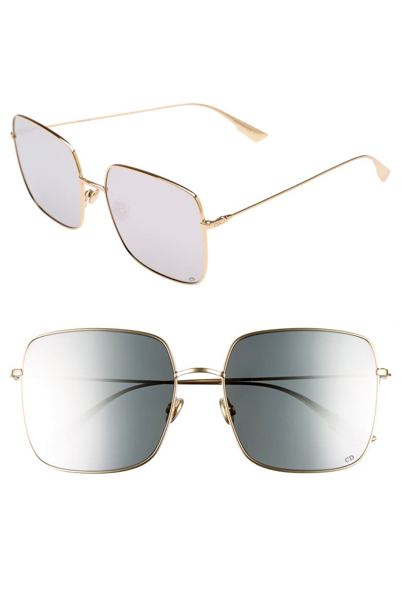DIOR Stellaire 1 59mm Square Sunglasses, Main, color, GOLD/ SILVER