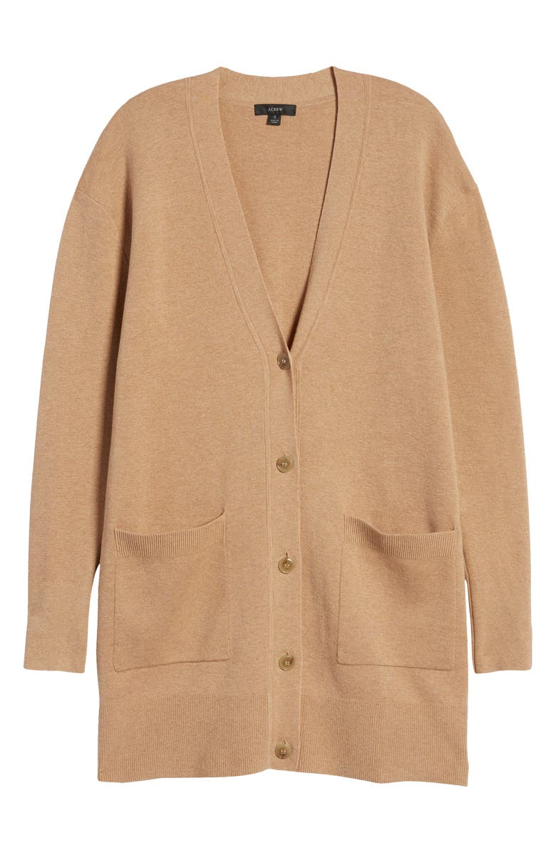 J.CREW V-Neck Long Cardigan, Alternate, color, HEATHER KHAKI