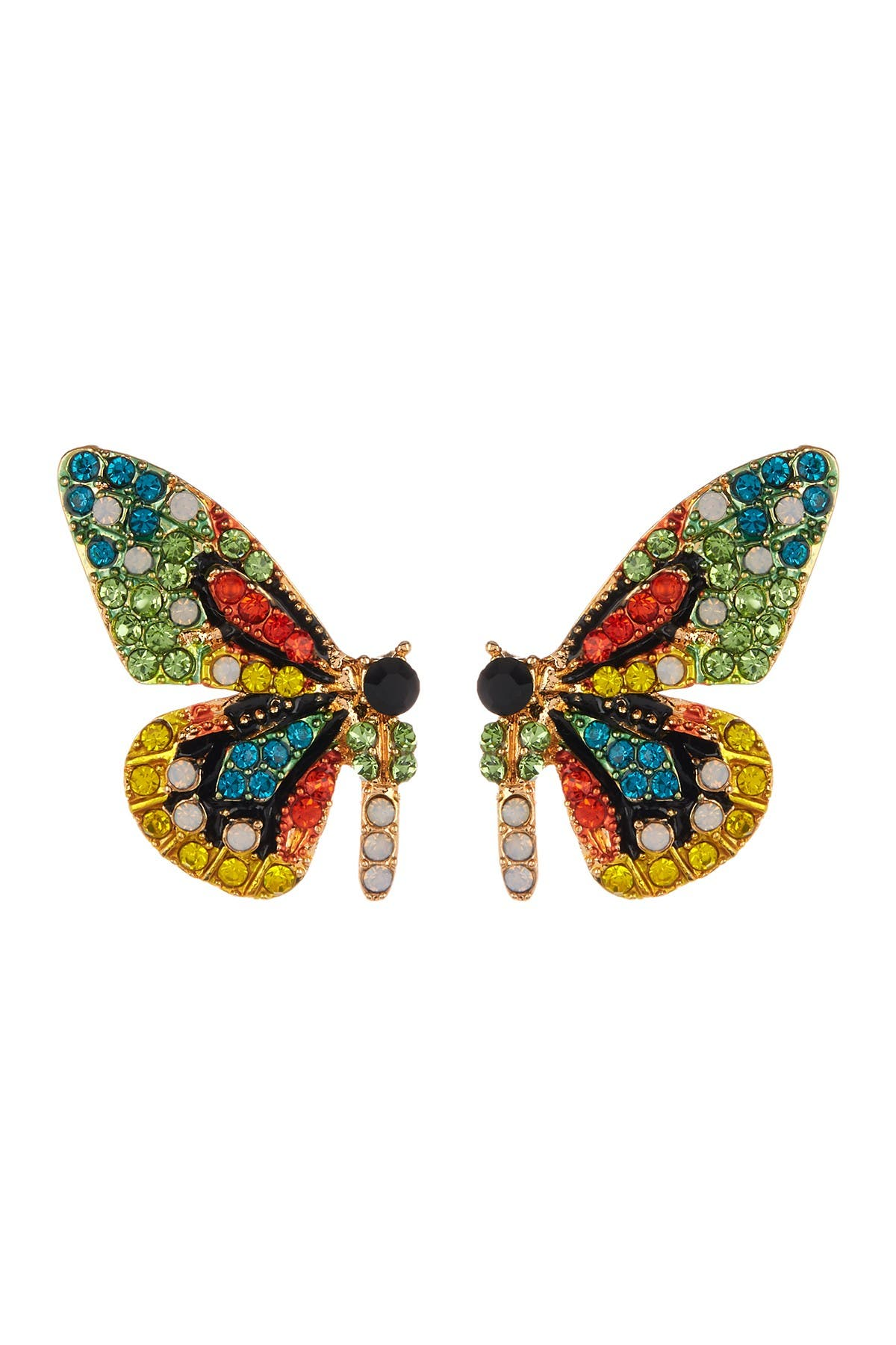 Eye Candy Los Angeles Flutter Green Crystal Butterfly Earrings at Nordstrom Rack