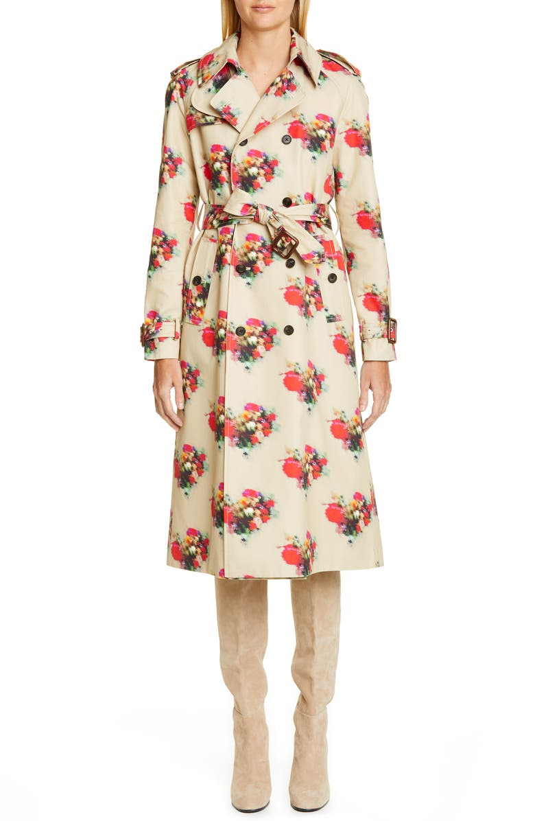 ADAM LIPPES Floral Print Cotton Twill Trench Coat, Main, color, KHAKI FLORAL
