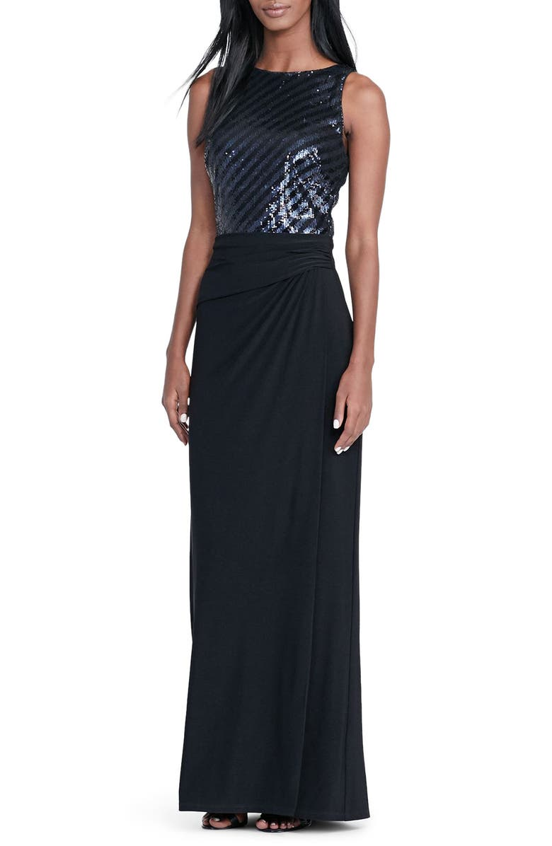 LAUREN RALPH LAUREN Sequin Gown, Main, color, 001