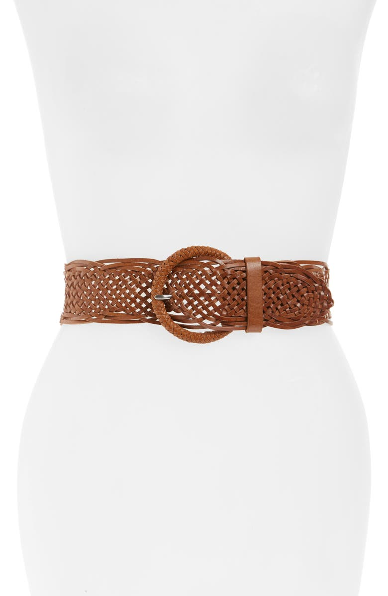 HALOGEN<SUP>®</SUP> Woven Leather Belt, Main, color, 235
